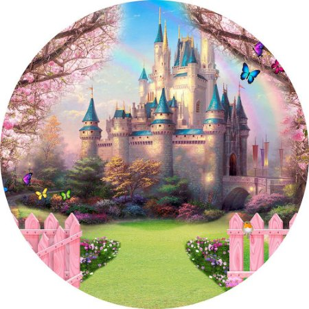 Painel de Festa Redondo em Tecido Sublimado Caminho Encantado Castelo c/elástico