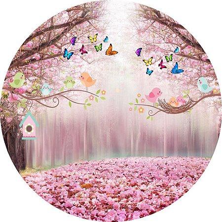 Painel de Festa Redondo em Tecido Sublimado Passarinhos Caminho Rosa c/elástico