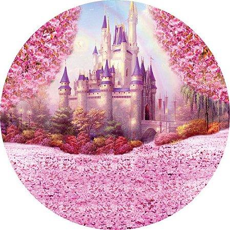 Painel de Festa Redondo em Tecido Sublimado Castelo Rosa c/elástico