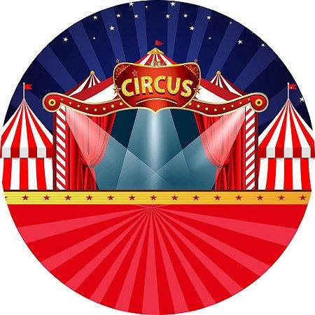 Painel de Festa Redondo em Tecido Sublimado Circo Holofote c/elástico