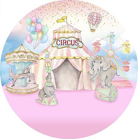 Painel de Festa Redondo em Tecido Sublimado Circo Aquarela Rosa c/elástico