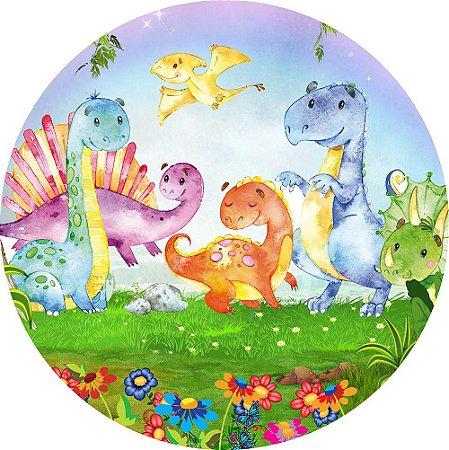 Painel de Festa Redondo em Tecido Sublimado Dinossauros Baby c/elástico