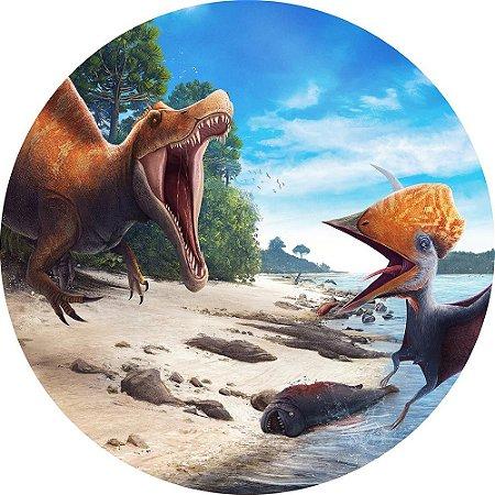 Painel de Festa Redondo em Tecido Sublimado Dinossauros Rio c/elástico