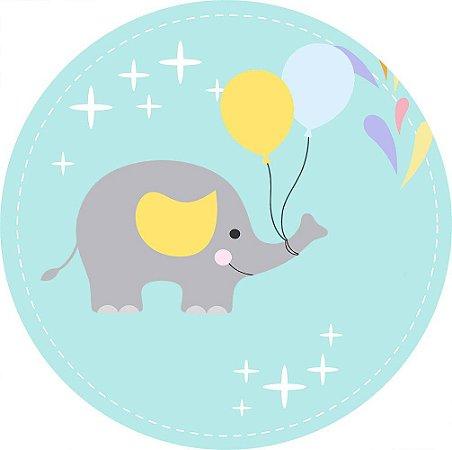 Painel de Festa Redondo em Tecido Sublimado Elefantinho Balões c/elástico