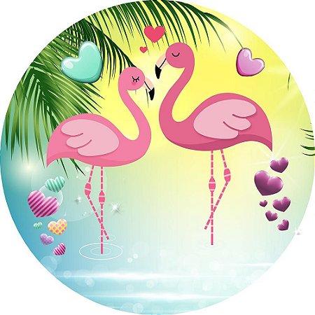 Painel de Festa Redondo em Tecido Sublimado Flamingos Corações c/elástico
