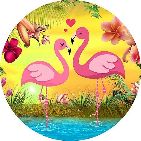 Painel de Festa Redondo em Tecido Sublimado Flamingos Românticos c/elástico