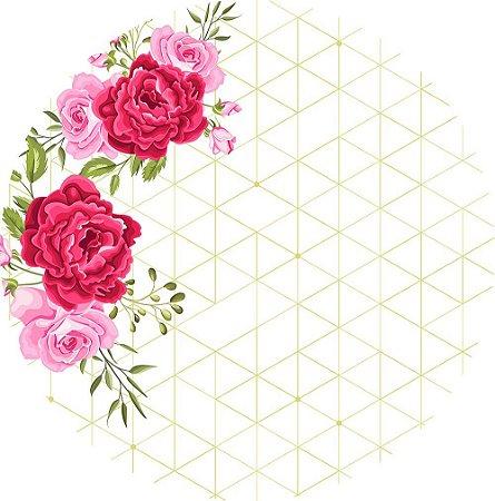 Painel de Festa Redondo em Tecido Sublimado Flores Rosas c/elástico