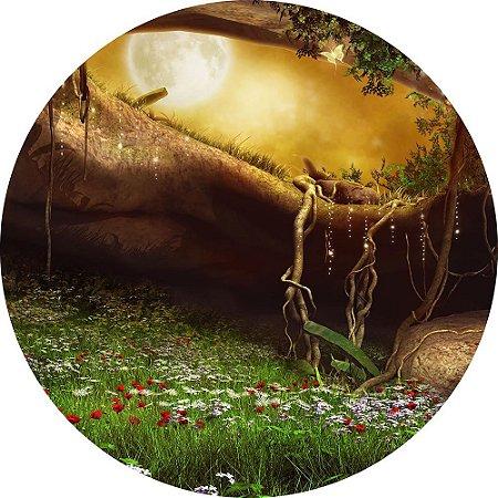 Painel de Festa Redondo em Tecido Sublimado Flores Jardim Misterioso c/elástico