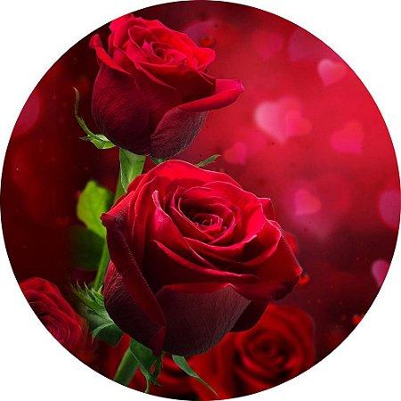Painel de Festa Redondo em Tecido Sublimado Belíssimas Rosas c/elástico