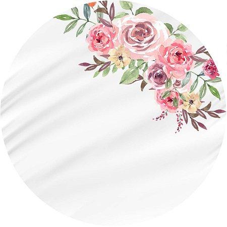 Painel de Festa Redondo em Tecido Sublimado Flores Aquareladas c/elástico