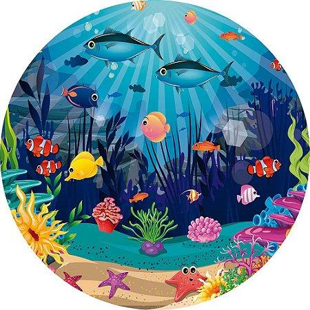 Painel de Festa Redondo em Tecido Sublimado Fundo do Mar c/elástico