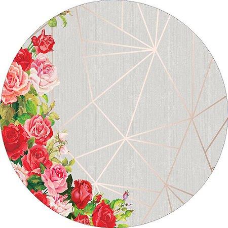 Painel de Festa Redondo em Tecido Sublimado Fundo Geométrico Flores Vermelhas c/elástico