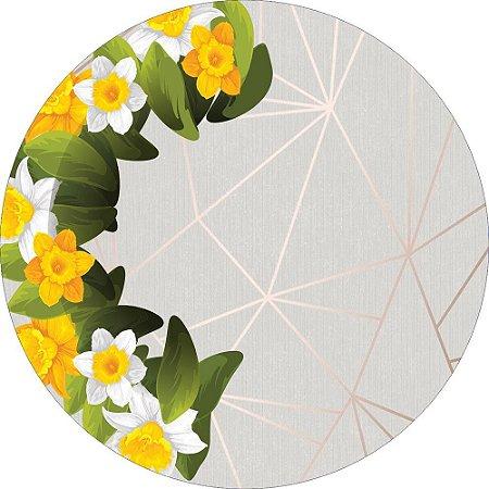 Painel de Festa Redondo em Tecido Sublimado Fundo Geométrico Flores Amarelas c/elástico