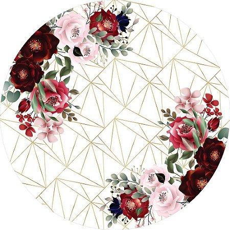 Painel de Festa Redondo em Tecido Sublimado Fundo Geométrico Lindas Flores Vermelhas c/elástico