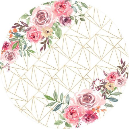 Painel de Festa Redondo em Tecido Sublimado Fundo Geométrico Branco Flores c/elástico