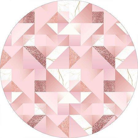 Painel de Festa Redondo em Tecido Sublimado Rosé Gold c/elástico