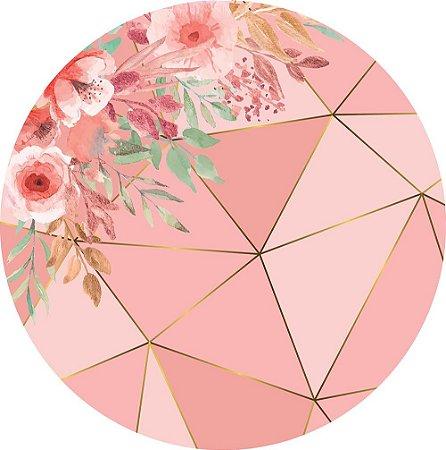 Painel de Festa Redondo em Tecido Sublimado Fundo Geométrico Rose Gold Mod2 c/elástico