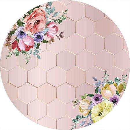 Painel de Festa Redondo em Tecido Sublimado Fundo Geométrico Rose Gold Flores Coloridas c/elástico