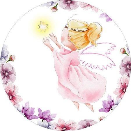 Painel de Festa Redondo em Tecido Sublimado Anjos Flores Batizado c/elástico