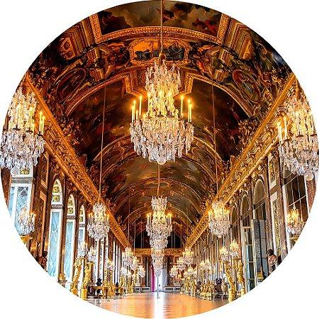 Painel de Festa Redondo em Tecido Sublimado Hall do Castelo Realeza c/elástico
