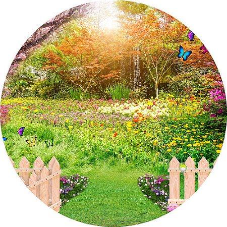 Painel de Festa Redondo em Tecido Sublimado Jardim Belas Flores c/elástico