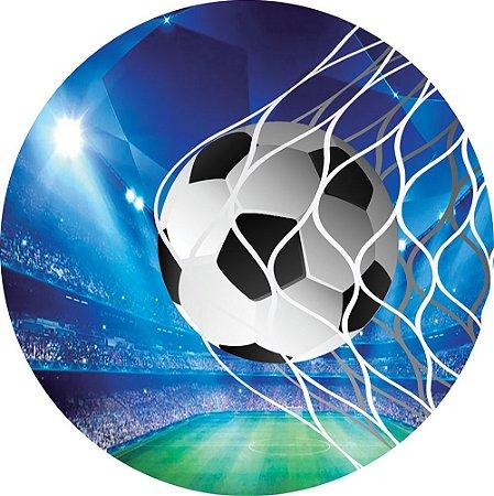 Painel de Festa Redondo em Tecido Sublimado Futebol Bola Champions c/elástico