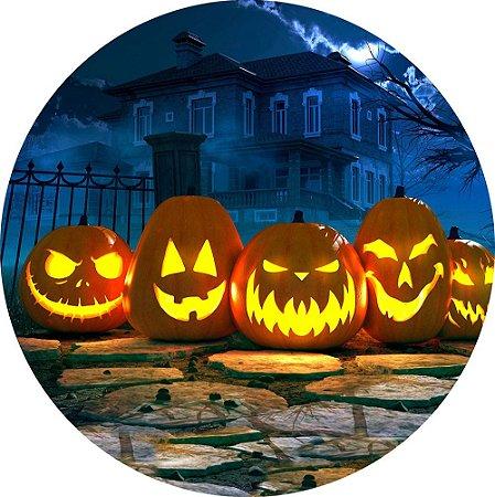 Painel de Festa Redondo em Tecido Sublimado Abóboras do Halloween c/elástico