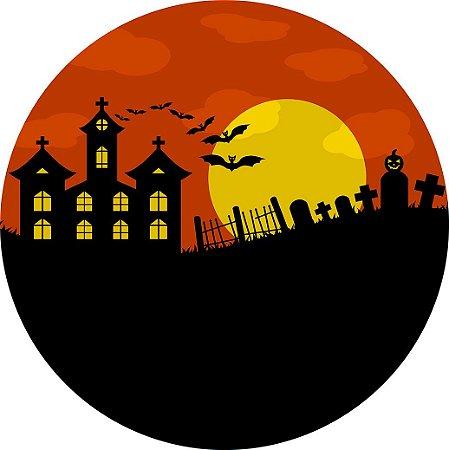 Painel de Festa Redondo em Tecido Sublimado Castelo e Cemitério Halloween c/elástico