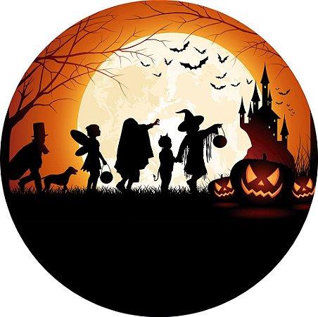 Painel de Festa Redondo em Tecido Sublimado Crianças Halloween c/elástico