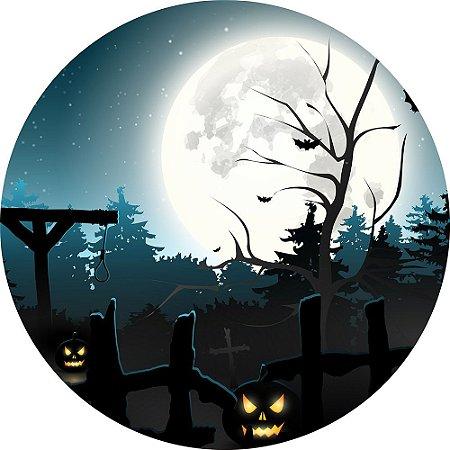 Painel de Festa Redondo em Tecido Sublimado Floresta Halloween c/elástico