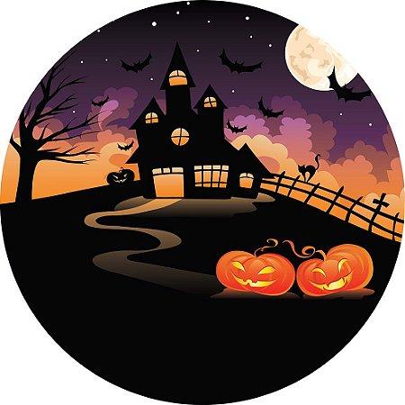 Painel de Festa Redondo em Tecido Sublimado Noite de Halloween c/elástico