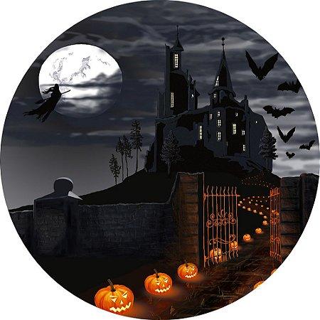 Painel de Festa Redondo em Tecido Sublimado Noite no Castelo Halloween c/elástico