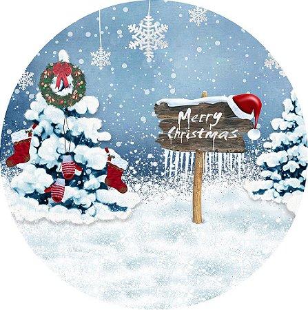 Painel de Festa Redondo em Tecido Sublimado merry christmas c/elástico