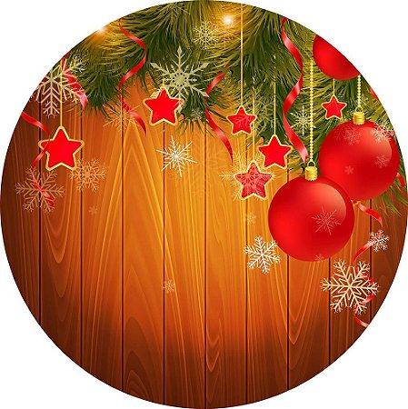 Painel de Festa Redondo em Tecido Sublimado Natal Mágico c/elástico