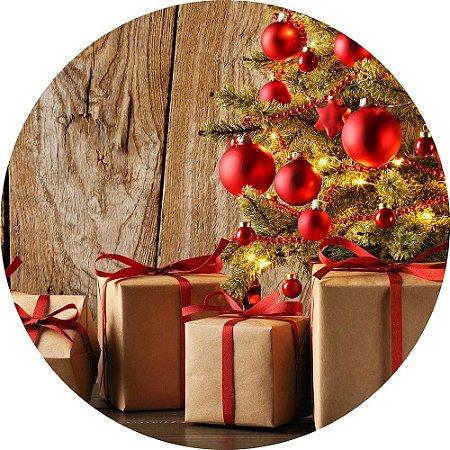 Painel de Festa Redondo em Tecido Sublimado Presentes de Natal c/elástico