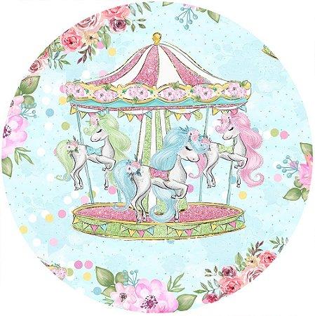 Painel de Festa Redondo em Tecido Sublimado Lindo Carrossel do Circo c/elástico