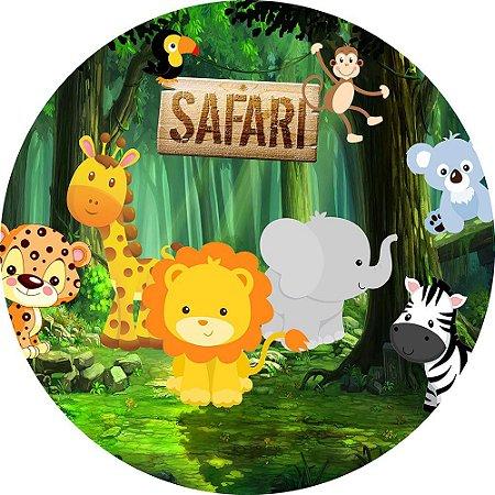 Painel de Festa Redondo em Tecido Sublimado Safari c/elástico
