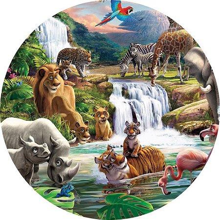 Painel de Festa Redondo em Tecido Sublimado Cascata do Safari c/elástico
