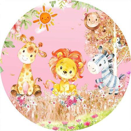 Painel de Festa Redondo em Tecido Sublimado Safari Aquarela Rosa c/elástico