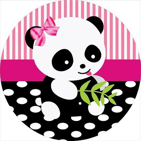 Painel de Festa Redondo em Tecido Sublimado Ursinho Panda Fofinho c/elástico
