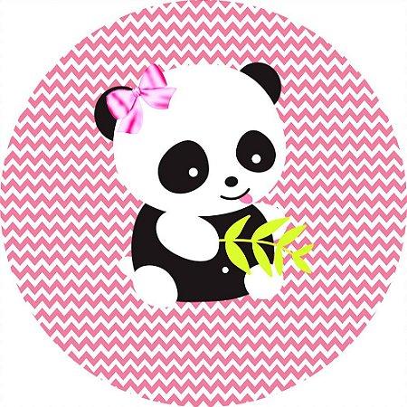Painel de Festa Redondo em Tecido Sublimado Ursinho Panda c/elástico