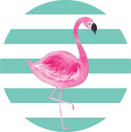 Painel de Festa Redondo em Tecido Sublimado Lindo Flamingo Tropical c/elástico