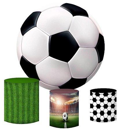 Kit Painel Redondo De Festa e Capas de Cilindro em tecido sublimado Bola de Futebol