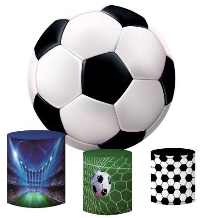 Kit Painel Redondo De Festa e Capas de Cilindro em tecido sublimado Bola Futebol Mod2