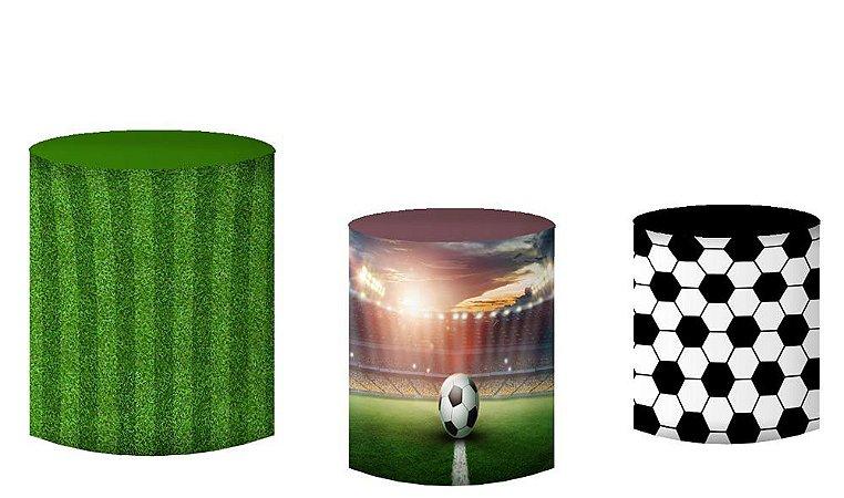 Kit Capas de Cilindro de festa em tecido sublimado Campo Futebol