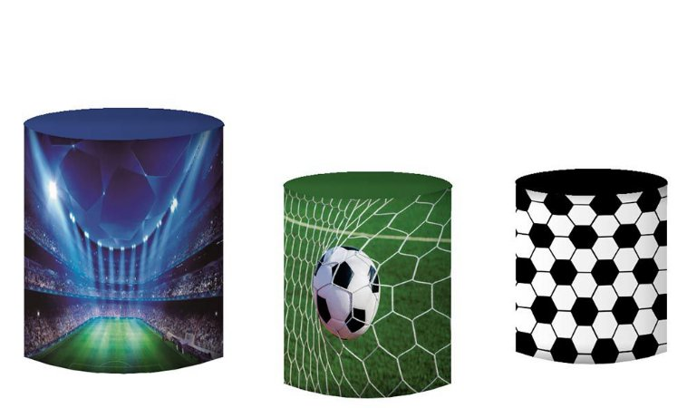 Kit Capas de Cilindro de festa em tecido sublimado Champions Futebol