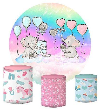 Kit Painel Redondo De Festa e Capas de Cilindro em tecido sublimado Elefantinhos Chá de Revelação