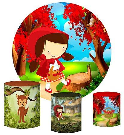Kit Painel Redondo De Festa e Capas de Cilindro em tecido sublimado Linda Chapeuzinho Vermelho