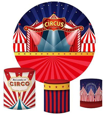 Kit Painel Redondo De Festa e Capas de Cilindro em tecido sublimado Circo Holofote