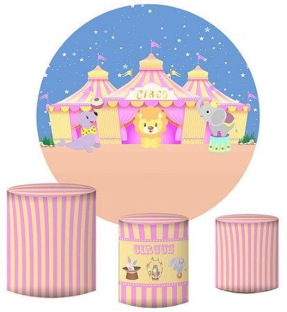 Kit Painel Redondo De Festa e Capas de Cilindro em tecido sublimado Circo Candy Colors